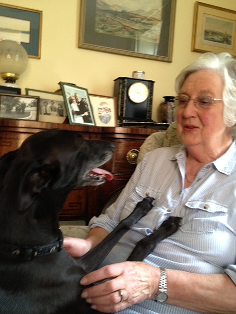 Jane Saunders with her whippet, Pip