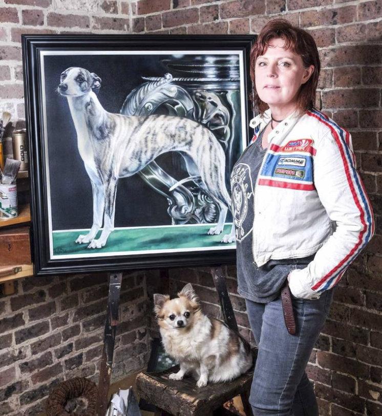 Sara Abott  with painting