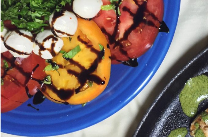 Caprese Salad with Balsamic Reduction and Chicken Paillard to the side