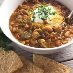 Poblano Green Chicken Chili with tortilla chips
