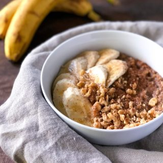 Banana nut steel-cut oats on a gray napkin