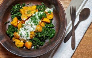 Golden Beet and Beet Greens Salad with Yogurt, Mint, and Dill