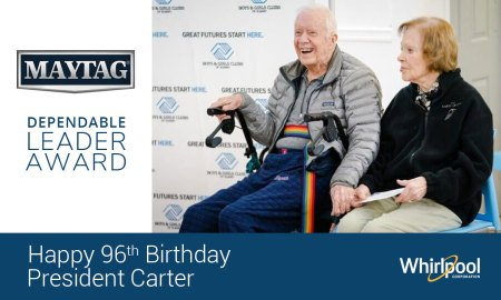 Maytag® Honors President Carter's 96th Birthday With Dependable Leader  Award And Appliance Donation To Boys & Girls Club | Whirlpool Corporation