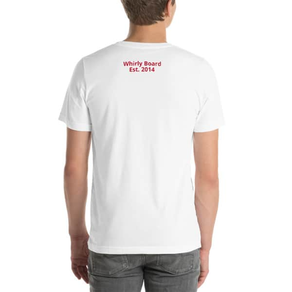 White Wisconsin T-shirt Back with Whirly Board Established 2014 writing