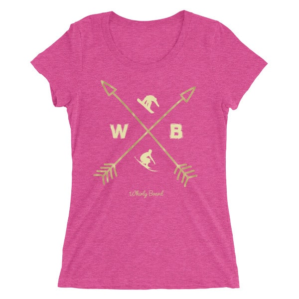 Berry Colored Compass T-shirt with WB snowboarder and surfer