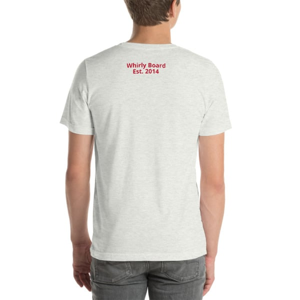 Ash Wisconsin T-shirt Back with Whirly Board Established 2014 writing