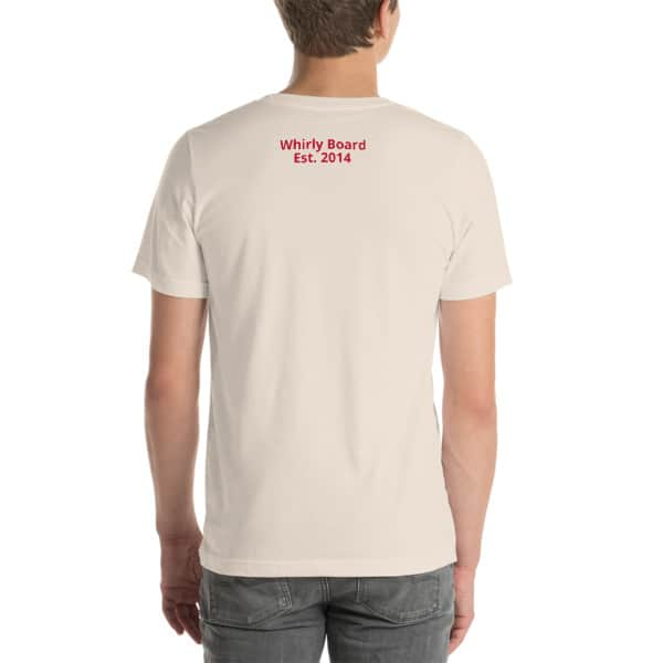 Soft Cream Wisconsin T-shirt Back with Whirly Board Established 2014 writing