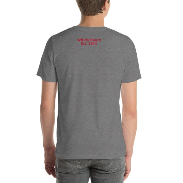 Deep Heather Wisconsin T-shirt Back with Whirly Board Established 2014 writing