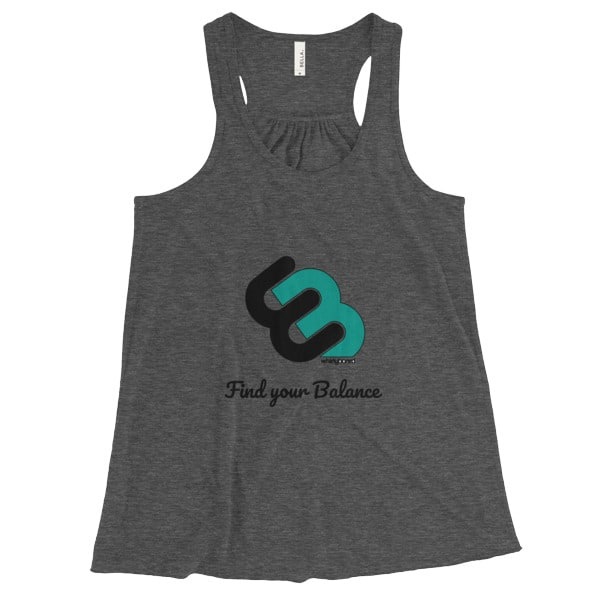 Dark Grey Heather Women's Flowy tank top with Whirly board logo and Find your balance quote