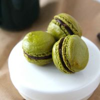 Matcha Macarons with Bittersweet Chocolate Ganache