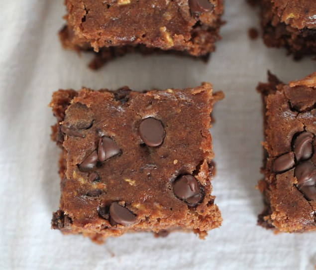 Zucchini brownies laden with chocolate chips and cut into squares