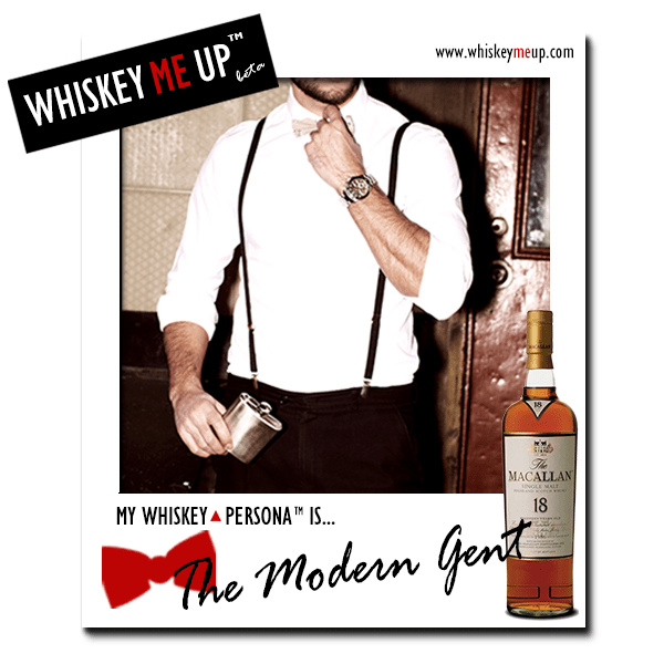 Whiskey Me Up Whiskey Persona Polaroid for Modern Gent with Macallan 18 Sherry (front)