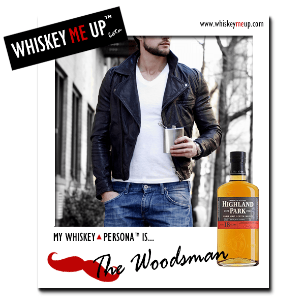 Whiskey Me Up Whiskey Persona Polaroid for Woodsman with Highland Park 18 (front)