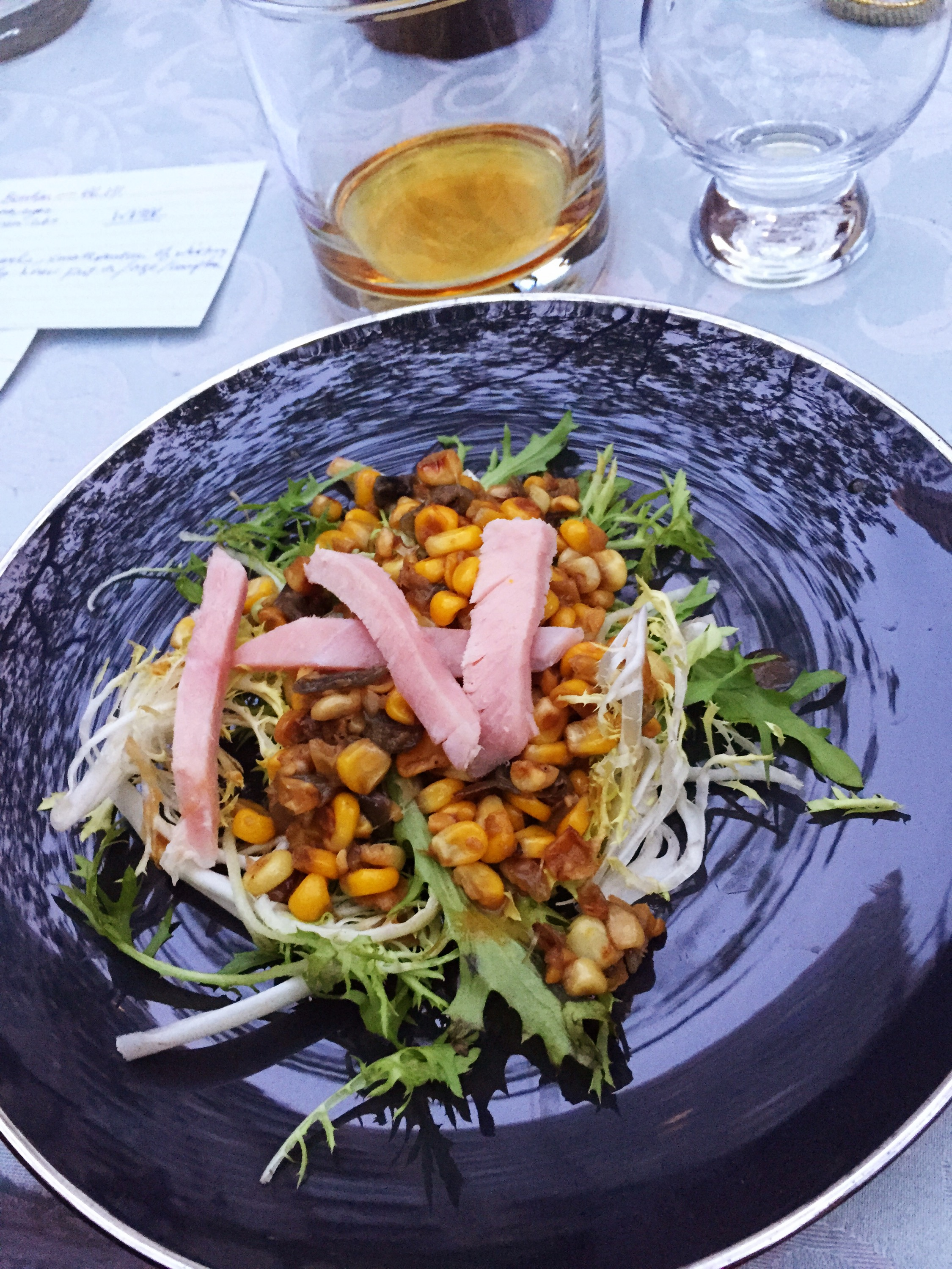 Hillrock Solera Aged Bourbon with clove-scented country ham, pan-roasted corn and frissee salad with sherry vinaigrette
