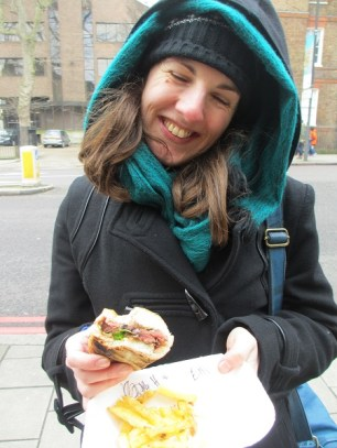 Eilidh's happy with her steak sandwich and chips
