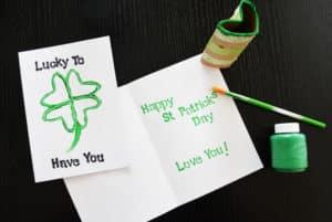 St Patrick's Day Four Leaf Clover Card