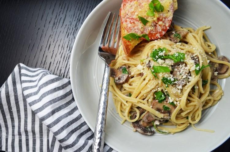 The Best Mushroom and Cream Sauce Spaghetti