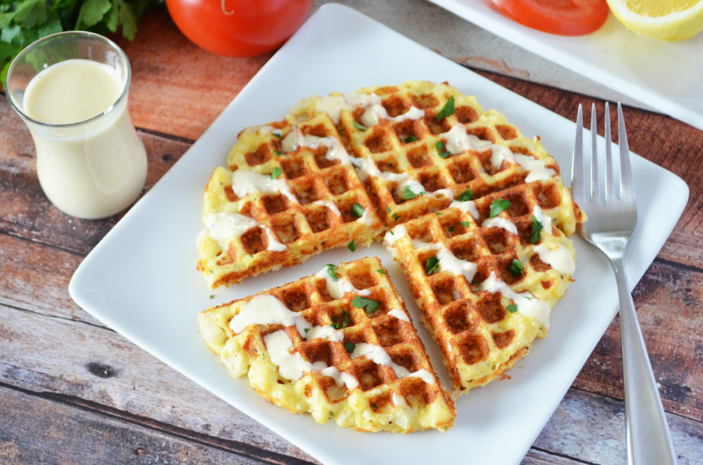 Waffled Cauliflower with Thyme Parmesan and Creamy Lemon Sauce