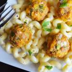 Broccoli Cheddar Meatballs with Mac and Cheese