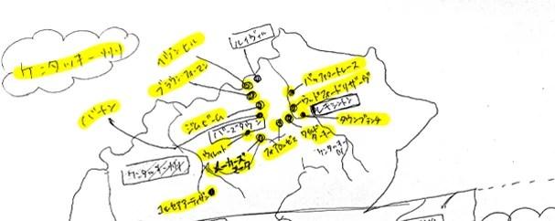 アメリカンウイスキーのケンタッキー州にある蒸溜所map