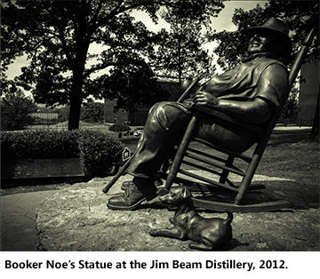 The statue of Booker Noe at the Jim Beam Distillery in Clermont, Kentucky.