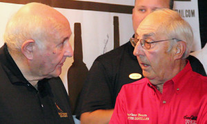 Heaven Hill's Parker Beam (R) and Wild Turkey's Jimmy Russell (L) chat during the 2012 Kentucky Bourbon Festival.