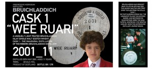 "The labels for Bruichladdich's ""Wee Ruari"", a bottling from the first cask filled at Bruichladdich after it reopened in 2001."
