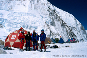 The 1993 Expedition Team at Mount Everest's Camp Two. Photo by John Barry courtesy Glenmorangie.