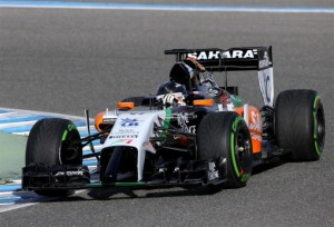 Force India's 2014 Formula One car made its debut during pre-season testing in Jerez, Spain on January 28, 2014. Image courtesy Sahara Force India.