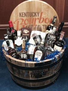 The Bourbon basket that will be sent to Connecticut Dannel Malloy following UConn's win over Kentucky in the NCAA basketball championship Monday night. Photo courtesy Kentucky Distillers Association.