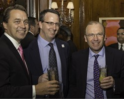 Andy Nash, William Grant & Sons USA President Jonathan Yusen, and Peter Grant Gordon during the launch event for the Glenfiddich Original November 3, 2014. Photo ©2014 by Mark Gillespie.