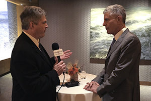 WhiskyCast's Mark Gillespie interviews Anthony Bourdain March 10, 2015 in New York City. Photo ©2015, CaskStrength Media.