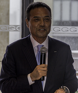 Suntory Holdings CEO Takeshi Niinami during a speech in New York City March 20, 2015. Photo ©2015 by Mark Gillespie.