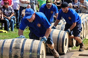 Diageo warehouse workers compete in the 2013 World Championship Bourbon Barrel Relay during the Kentucky Bourbon Festival. Photo ©2013 by Mark Gillespie.