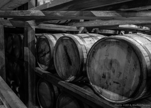 Bourbon barrels in a warehouse at Stitzel-Weller Distillery in Louisville. Photo ©2014 by Mark Gillespie.