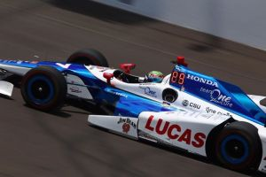 Jay Howard at speed in the #77 Schmidt Peterson Motorsports IndyCar during practice for Sunday's Indianapolis 500. Photo courtesy Schmidt Peterson Motorsports.