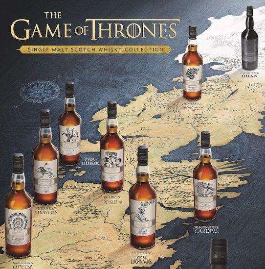 Mapa con las botellas de whisky de Juego de Tronos