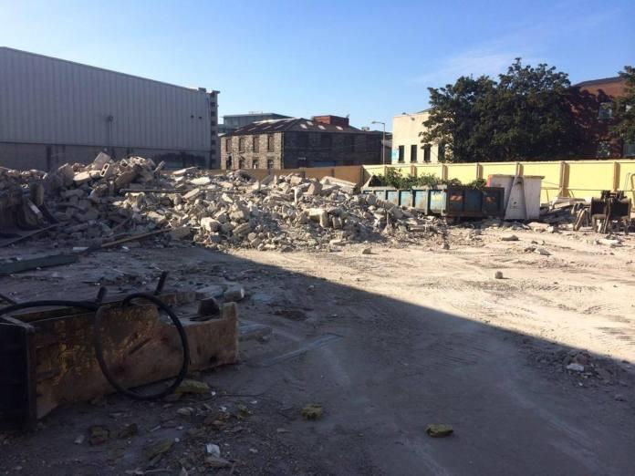 So sieht die Baustelle der neuen Teeling Distillery Mitte September 2014 aus...