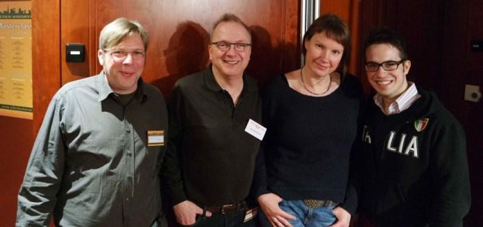 Unser Team auf der Whiskymesse in Wien (v.l.n.r.): Dirk Piesczek, Bernhard Rems, Silvia Behrens und Reinhard Pohorec (in Düsseldorf leider nicht dabei, dafür diesmal mit Simon Rosenkranz)