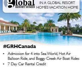 Global Resort Homes Giveaway: Win 7 Nights at A Global Resort Homes Vacation Home, Admission for 4 to SeaWorld, Hot Air Balloon Ride, Boggy Creek Air Boat Rides and a 7 Day Car Rental Credit! #GRHCanada