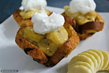 Sun-Maid Raisin Cinnamon Swirl Bread: Banana Foster for Brunch? Yes Indeed, Brunch is Back! Make These Creamy Banana Foster Raisin Cups! #SunMaidBrunch