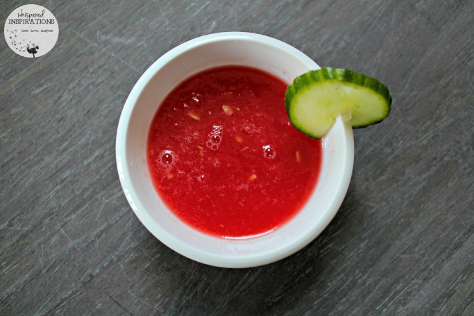 Smashed watermelon in a small bowl.