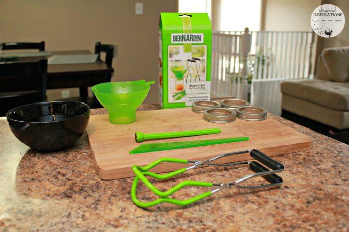 The Bernardin starter kit on the counter ready to make organic strawberry and blueberry jam.