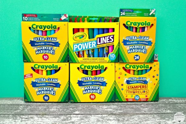 An arrangement of Crayola markers are displayed. Different types for different uses.
