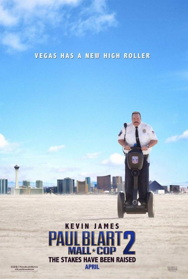 Paul Blart Mall Cop 2 Movie Poster. Paul Blart on a segway in the dessert of Las Vegas.