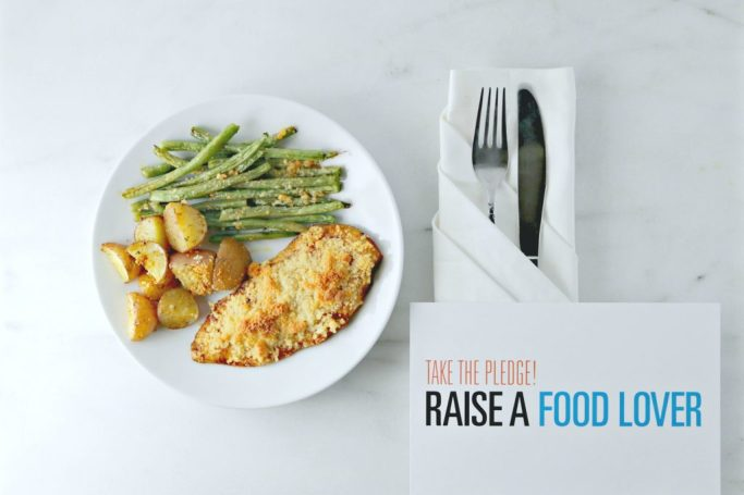 Take the pledge and raise a food lover is shown with the final prepared dish.