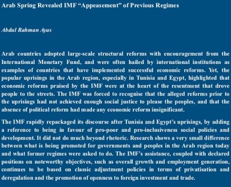 "Arab Spring Revealed IMF ""Appeasement"" of Previous Regimes"
