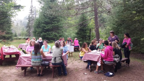 The Women's breakfast is one of the highlights of the week for me. We walk to a place by the lake for a meal of veggie-scrambled eggs on an outdoor grill, croissants, and fresh fruit, and enjoy fellowship together.