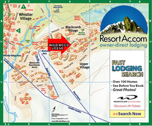 Whistler Wildwood Lodge Accommodation Map
