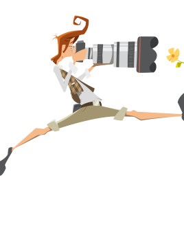 Young man pro professional photographer with big lens camera. Passion, extreme risk, pose. Isolated on white background.